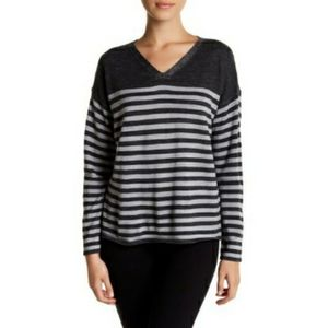 Eileen Fisher Striped Wool V-Neck Sweater Pullover